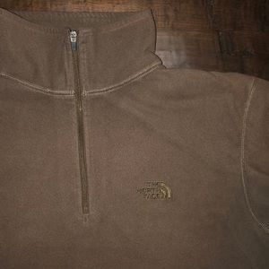 North Face 1/4 Zip Long Sleeve Brown